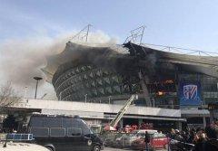 虹口足球场火灾,因攀岩馆施工所致,无人员伤亡